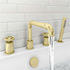 Arezzo Brushed Brass 4TH Industrial Style Deck Mounted Bath Shower Mixer Inc. Pull Out Handset profile small image view 1