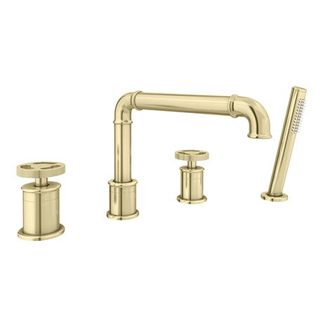 Arezzo Brushed Brass 4TH Industrial Style Deck Mounted Bath Shower Mixer Inc. Pull Out Handset