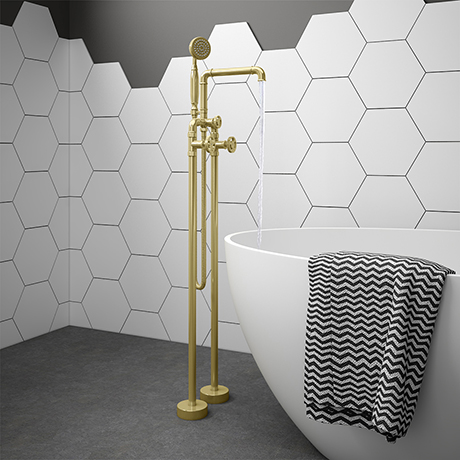 Arezzo Brushed Brass Industrial Style Freestanding Bath Shower Mixer Tap