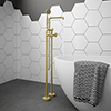 Arezzo Brushed Brass Industrial Style Freestanding Bath Shower Mixer Tap profile small image view 1
