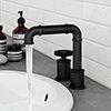 Arezzo Matt Black 2TH Industrial Style Deck Mounted Basin Mixer profile small image view 1