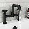Arezzo Matt Black Industrial Style Bath Filler profile small image view 1