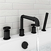 Arezzo Matt Black 4TH Industrial Style Deck Mounted Bath Shower Mixer inc. Pull Out Handset profile small image view 1