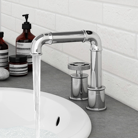 Arezzo Chrome 2TH Industrial Style Deck Mounted Basin Mixer