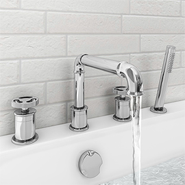 Arezzo Chrome 4TH Industrial Style Deck Mounted Bath Shower Mixer inc. Pull Out Handset