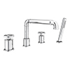 Arezzo Chrome 4TH Industrial Style Deck Mounted Bath Shower Mixer Inc. Pull Out Handset profile small image view 1