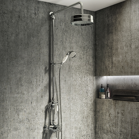 Arezzo Chrome Industrial Style Rigid Riser Kit with Diverter + Dual Exposed Shower Valve