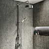 Arezzo Chrome Industrial Style Rigid Riser Kit with Diverter + Dual Exposed Shower Valve profile small image view 1