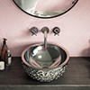 Arezzo Round 410mm Silver Mottled Relief Design Ceramic Counter Top Basin profile small image view 1