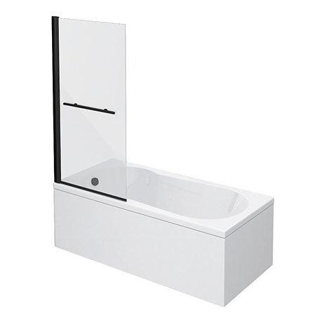 Arezzo Matt Black 1700 x 800 Keyhole Shower Bath with Screen