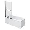 Arezzo Matt Black 1700 x 800 Keyhole Shower Bath with Screen profile small image view 1