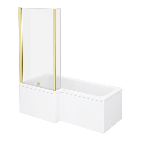 Arezzo Shower Bath - 1700mm L Shaped with Brushed Brass Screen + Panel