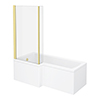 Arezzo Shower Bath - 1700mm L Shaped with Brushed Brass Screen + Panel profile small image view 1