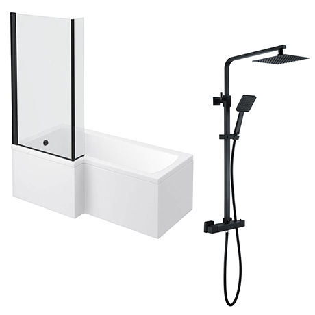 Arezzo Square Matt Black Shower Bath + Exposed Shower Pack (1700 L Shaped with Screen + Panel)