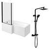 Arezzo Square Matt Black Shower Bath + Exposed Shower Pack (1700 L Shaped with Screen + Panel) profile small image view 1