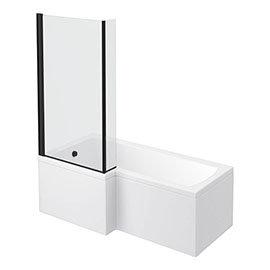 Arezzo Shower Bath - 1700mm L Shaped with Matt Black Screen + Panel
