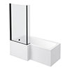 Arezzo Shower Bath - 1700mm L Shaped with Matt Black Screen + Panel profile small image view 1