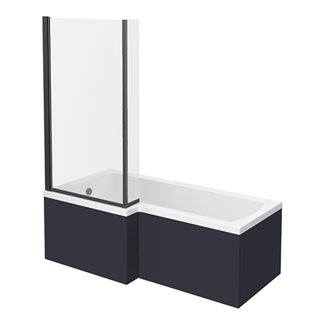 Arezzo Shower Bath - 1700mm L Shaped with Matt Black Screen + Matt Blue Panel