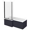 Arezzo Shower Bath - 1700mm L Shaped with Matt Black Screen + Matt Blue Panel profile small image view 1