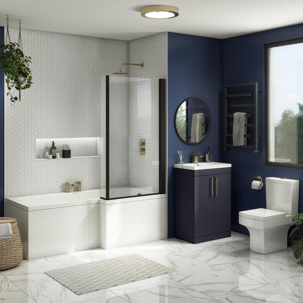 Arezzo L-Shaped Shower Bath Suite - 1700mm with Blue Vanity Unit + Square Toilet