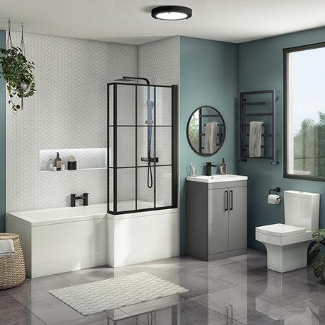 Arezzo L-Shaped Shower Bath Suite - 1700mm with Grey Vanity Unit + Square Toilet
