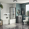 Arezzo L-Shaped Shower Bath Suite - 1700mm with Grey Vanity Unit + Square Toilet profile small image view 1