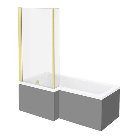Arezzo Shower Bath - 1700mm L Shaped with Brushed Brass Screen + Matt Grey Panel
