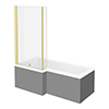 Arezzo Shower Bath - 1700mm L Shaped with Brushed Brass Screen + Matt Grey Panel profile small image view 1