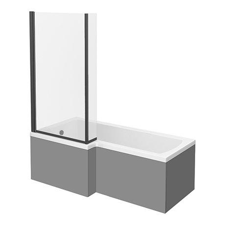 Arezzo Shower Bath - 1700mm L Shaped with Matt Black Screen + Matt Grey Panel