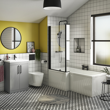 Arezzo L-Shaped Shower Bath Suite - 1700mm with Grey Vanity Unit + Wall Hung Toilet