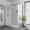Arezzo 1400 x 900 Matt Black Profile Wet Room (Inc. Screen, Side Panel + Tray) profile small image view 1