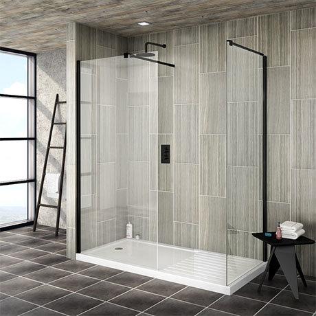 Arezzo 1400 x 900 Matt Black Wet Room (Inc. Screen, Side Panel + Tray)