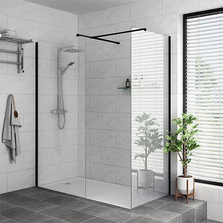 Arezzo 1600 x 900 Matt Black Profile Wet Room (Inc. Screen, Side Panel + Tray)