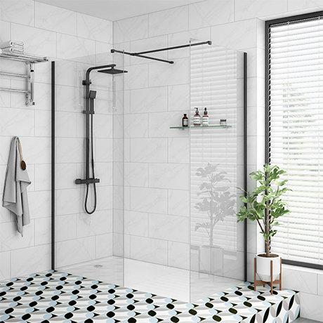 Arezzo 1600 x 800 Matt Black Profile Wet Room (Inc. Screen, Side Panel + Tray)