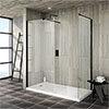 Turin 1600 x 800 Matt Black Wet Room (Inc. Screen, Side Panel + Tray) profile small image view 1