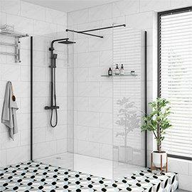 Arezzo 1700 x 800 Matt Black Profile Wet Room (Inc. Screen, Side Panel + Tray)