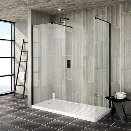 Arezzo 1700 x 800 Matt Black Wet Room (Inc. Screen, Side Panel + Tray)