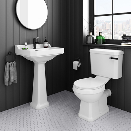 Arezzo Traditional 4-Piece 1TH Bathroom Suite (inc. Matt Black Lever)
