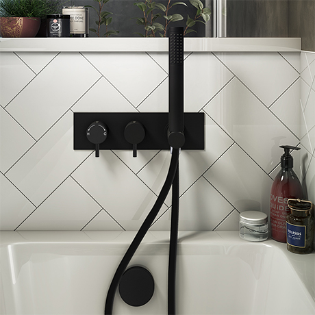 Arezzo Matt Black 2-Way Thermostatic Shower with Diverter, Overflow Bath Filler and Hand Shower