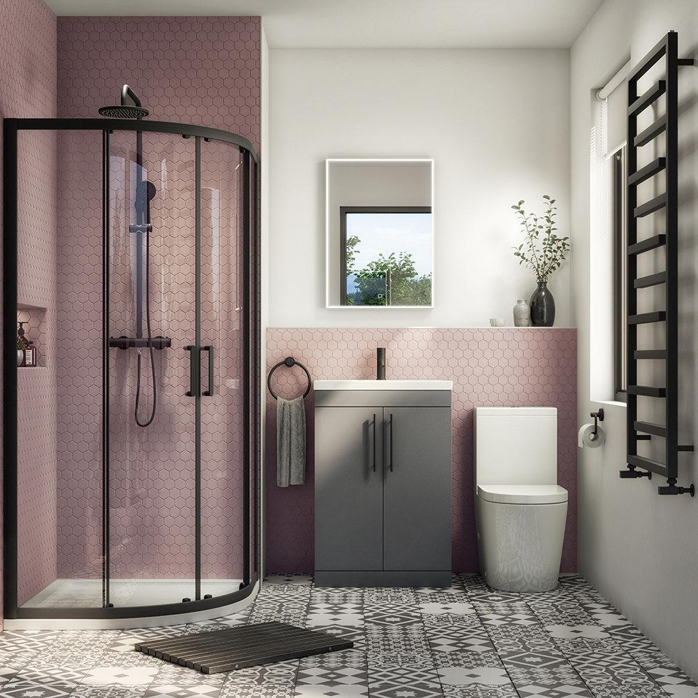 Arezzo Matt Black 900mm Quadrant Shower Suite with Matt Grey Vanity Unit + Modern Round Toilet