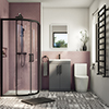 Arezzo Matt Black 900mm Quadrant Shower Suite with Matt Grey Vanity Unit + Modern Round Toilet profile small image view 1