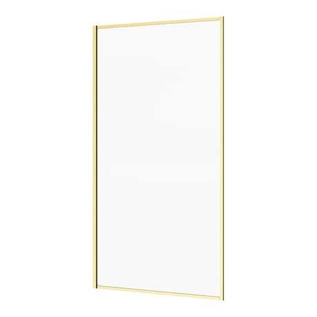 Arezzo Brushed Brass Framed 6mm Glass Fixed Bath Screen (800 x 1500mm)