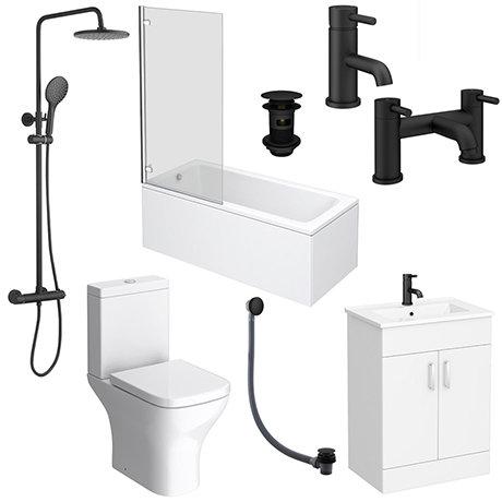 Arezzo Matt Black Complete Modern Bathroom Package (Inc. Standard Bath)