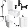 Arezzo Matt Black Complete Modern Bathroom Package profile small image view 1