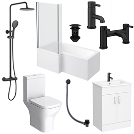 Arezzo Matt Black Complete Modern Bathroom Package (Inc. L-Shaped Bath)