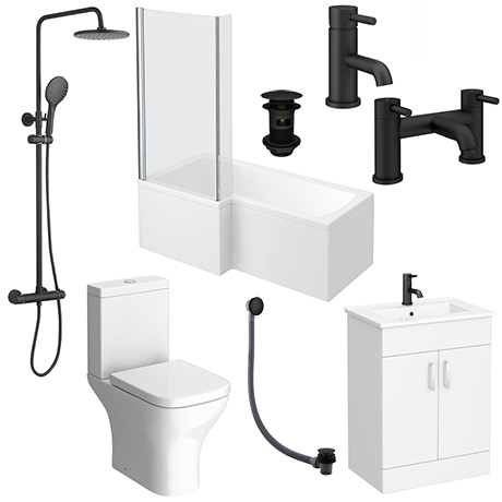 Arezzo Matt Black Complete Modern Bathroom Package