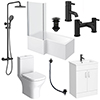 Arezzo Matt Black Complete Modern Bathroom Package (inc. L-Shaped Bath) profile small image view 1