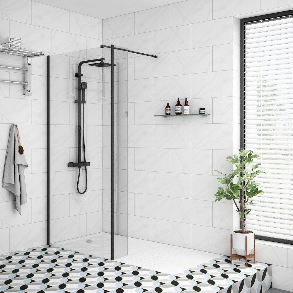 Arezzo 1600 x 800 Matt Black Profile Wet Room l Family Bathroom Design Ideas