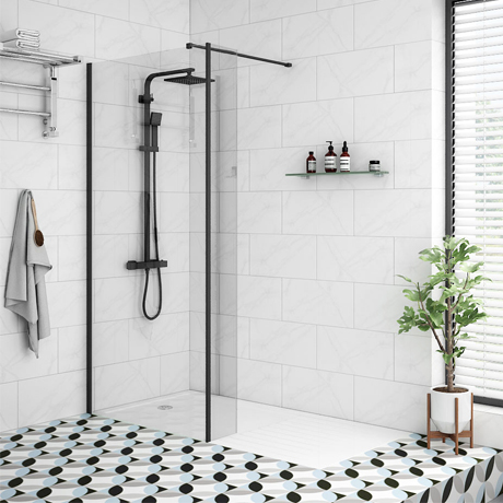 Arezzo 1600 x 800 Matt Black Profile Wet Room (900mm Screen, Return Panel + Tray)