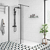 Arezzo 1600 x 800 Matt Black Profile Wet Room (900mm Screen, Return Panel + Tray) profile small image view 1